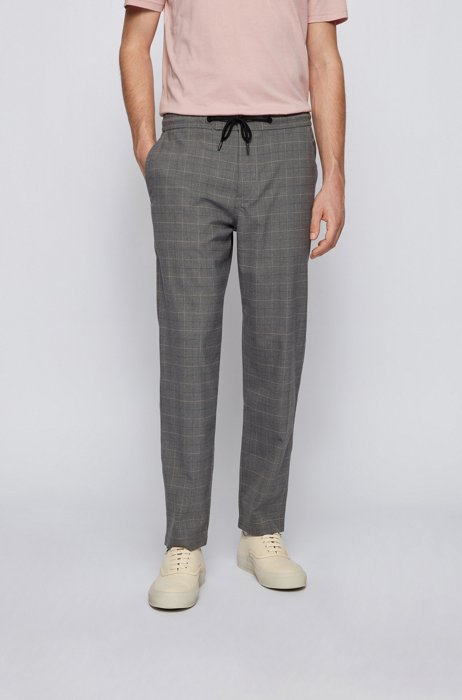 Checked tapered-fit trousers with drawstring waist, Dark Grey