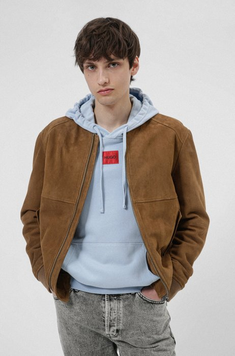 Slim-fit bomber jacket in suede with light padding, Light Brown