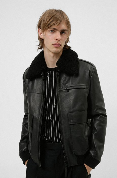 Nappa-leather pilot jacket with removable teddy collar, Black
