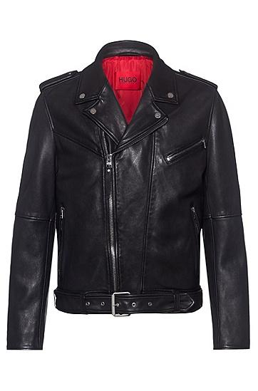 皮革束腰修身机车夹克,  001_Black
