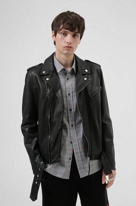 Slim-fit biker jacket in leather with belt detail, Black