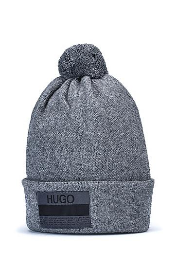品牌宣言徽标装饰毛绒球毛线帽,  035_Medium Grey