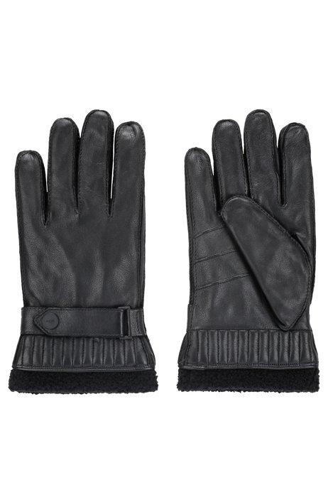 Lederhandschuhe mit Innenfutter aus Kunstfell, Schwarz