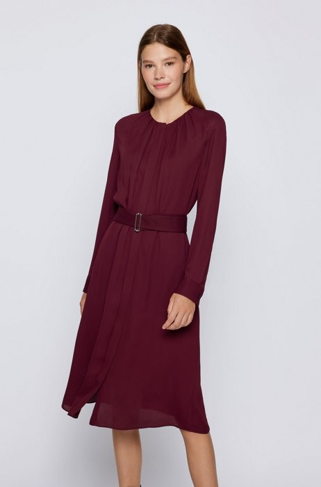 Long-sleeved dress with belted waist, Dark Red