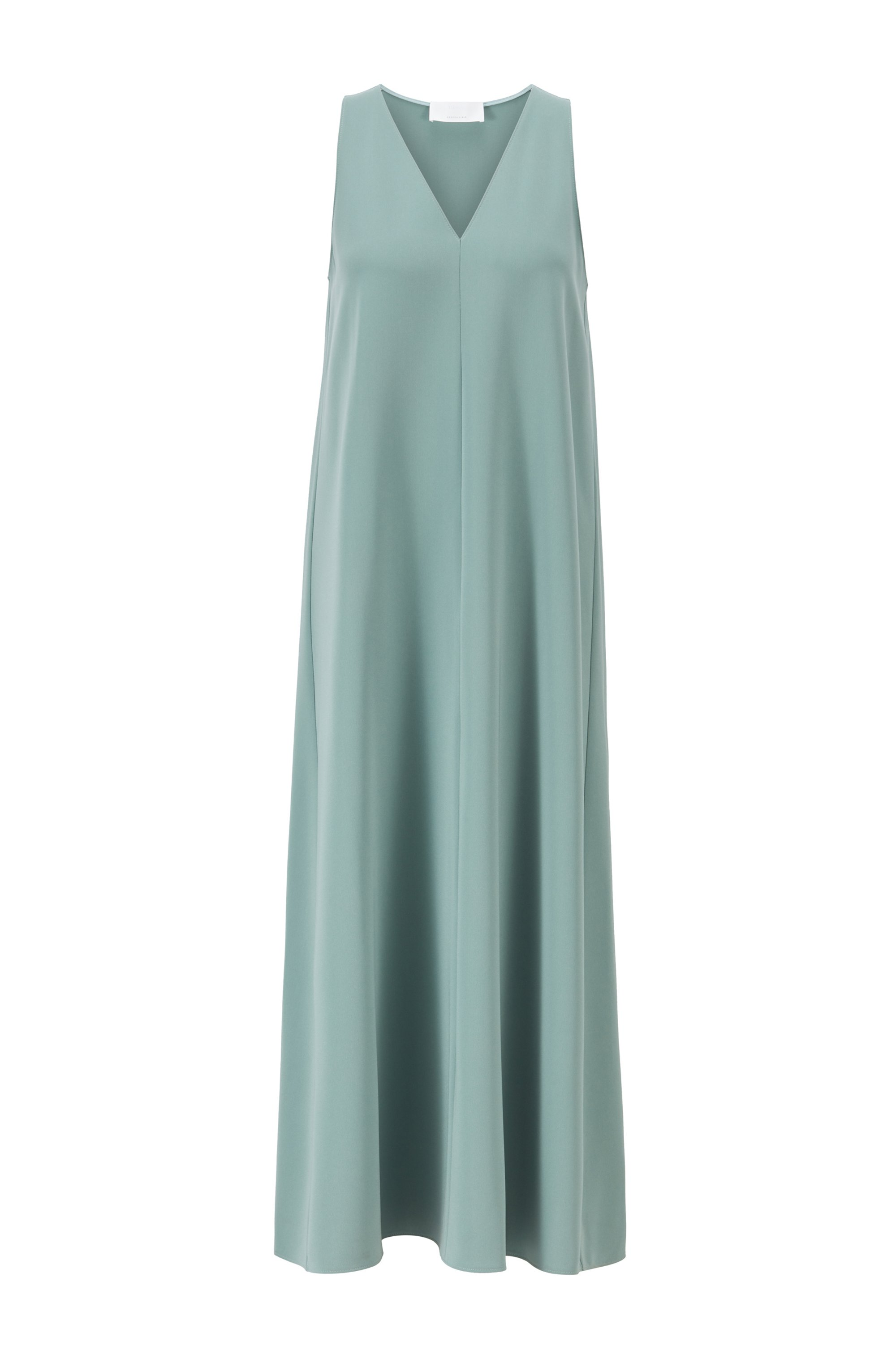 A-line crepe maxi dress with deep V neckline, Light Green