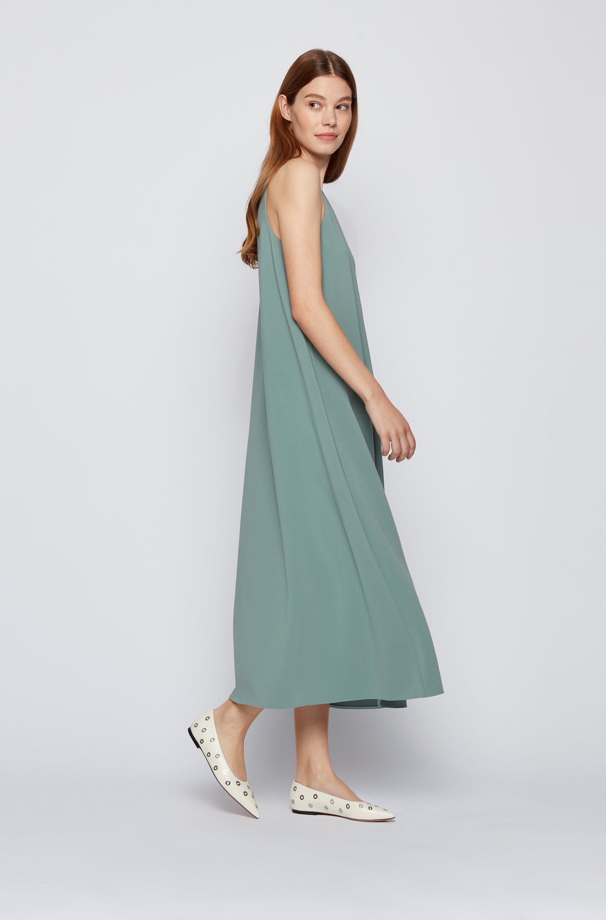 A-line crepe maxi dress with deep V neckline