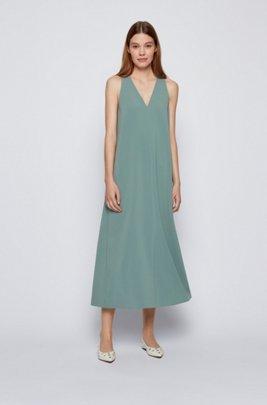 Maxi-jurk in A-lijn van crêpe met lage V-hals, Kalk