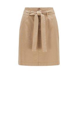 Falda estilo chinos en algodón orgánico con elástico, Beige