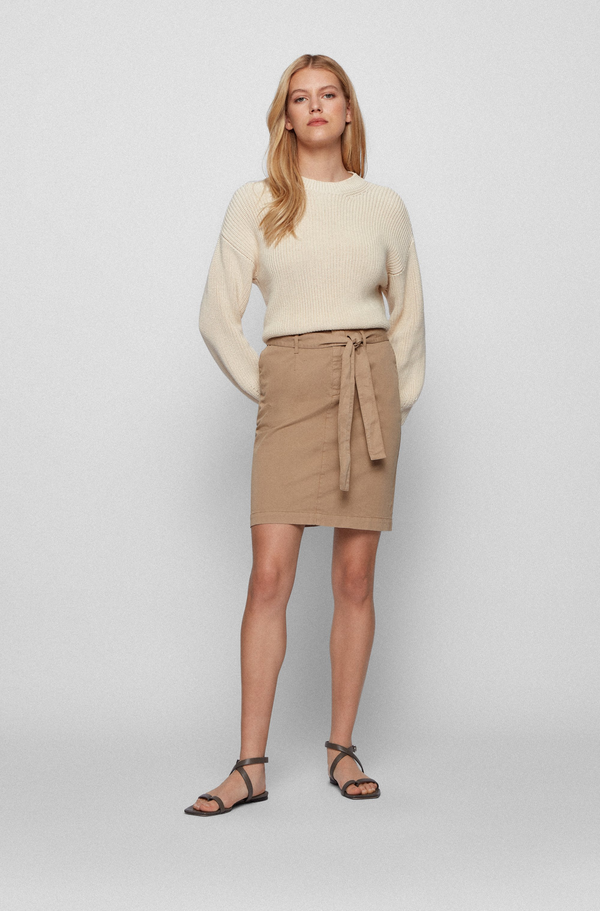 Chino skirt in organic cotton with stretch