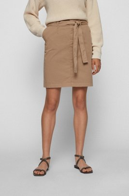 Chino skirt in organic cotton with stretch, Beige