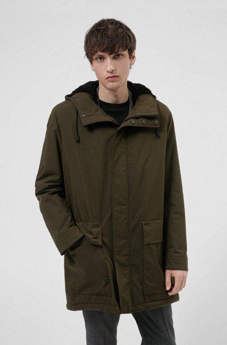 Regular-fit water-repellent overcoat with logo patch, Dark Green