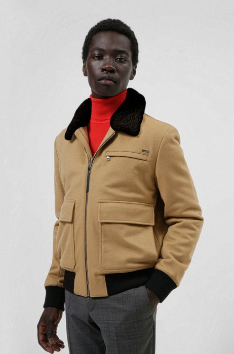 Wool-blend bomber jacket with teddy collar, Beige