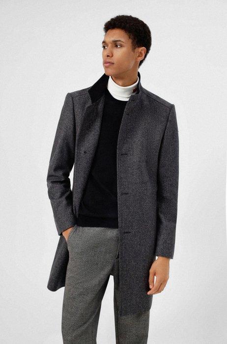 Abrigo regular fit en mezcla de lana con microdibujo, Gris oscuro