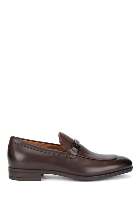 Italian-made loafers in tanned leather with branded hardware, Dark Brown