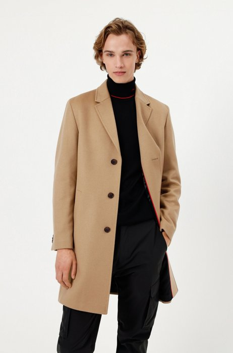 Regular-fit coat in a wool blend with cashmere, Beige