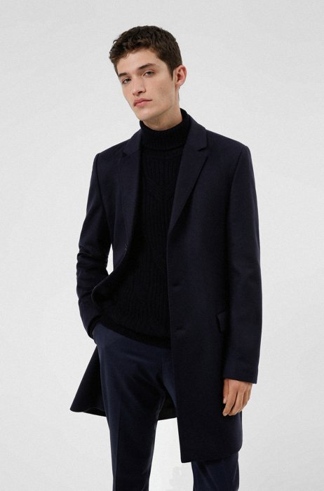 Slim-fit coat in a wool blend with cashmere, Dark Blue