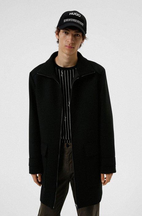 Regular-fit zip-up coat with stand collar, Black