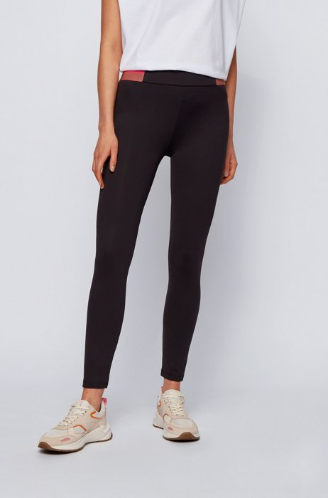 Super-skinny-fit leggings with color-block waistband, Black