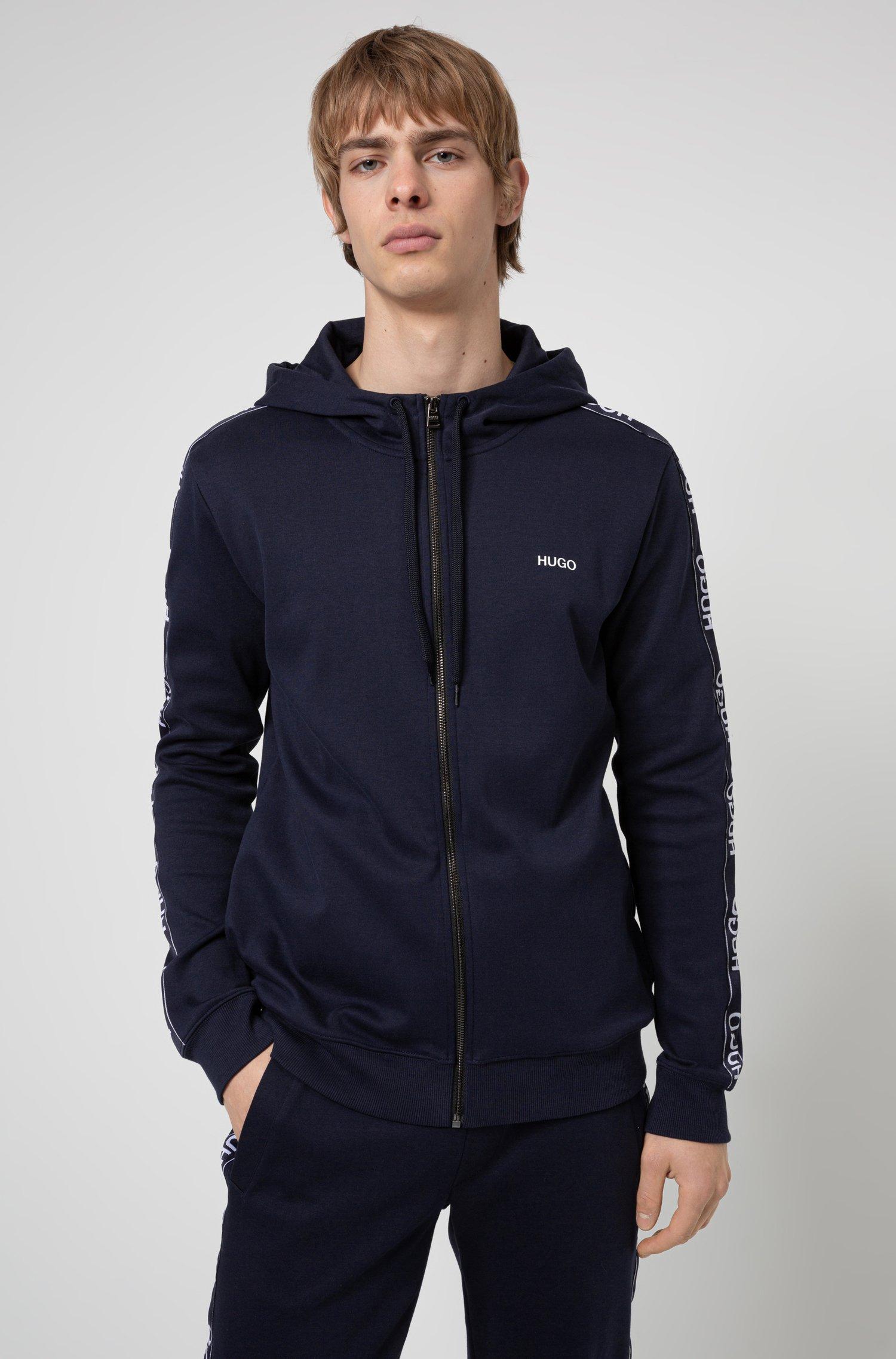 Zip-through cotton hoodie with reverse-logo-tape sleeves, Dark Blue