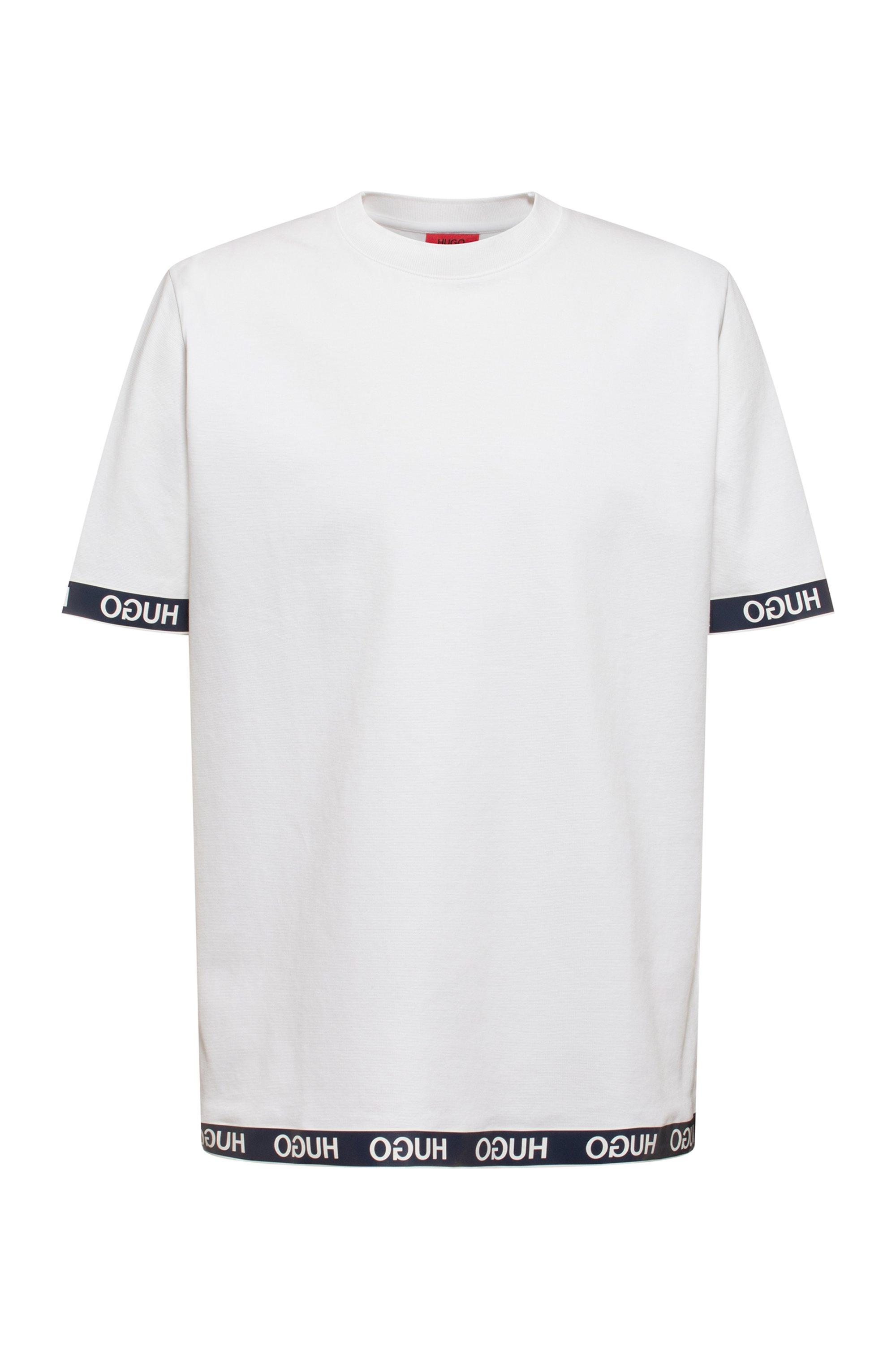 Cotton-blend T-shirt with logo cuffs and hem, White