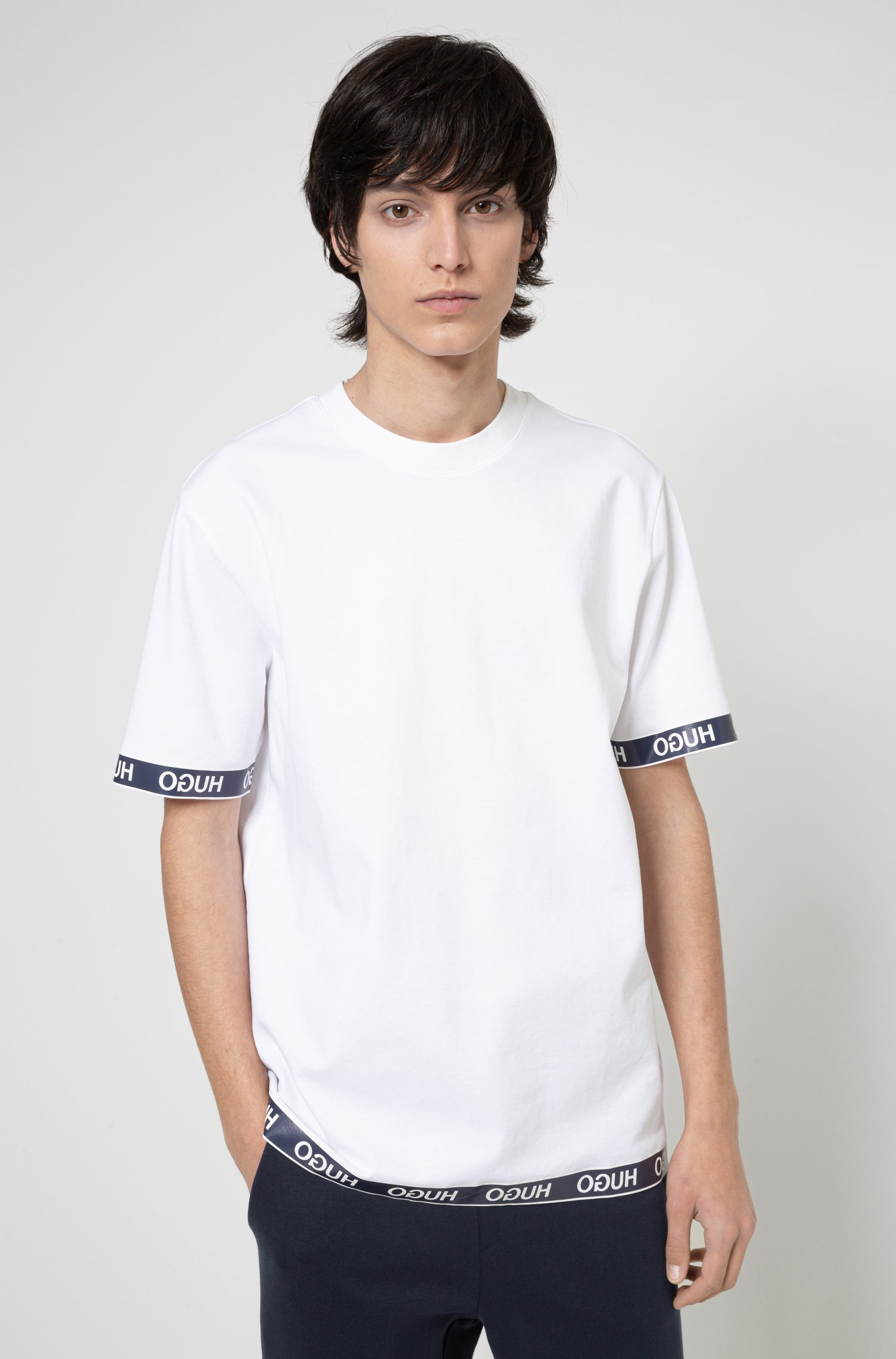 T-Shirt aus Baumwoll-Mix mit Logos an Ärmelbündchen und Saum, Weiß