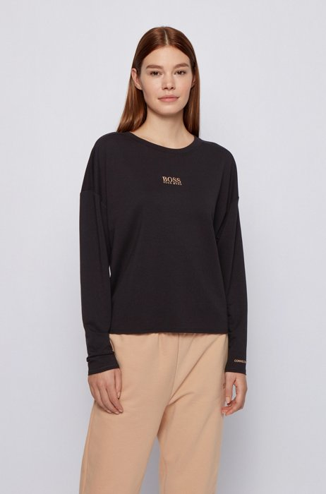 Relaxed-fit sweatshirt in lightweight terry with logo detail, Black