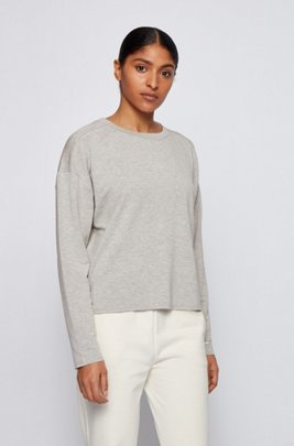 Relaxed-fit sweatshirt in lightweight terry with logo detail, Light Grey