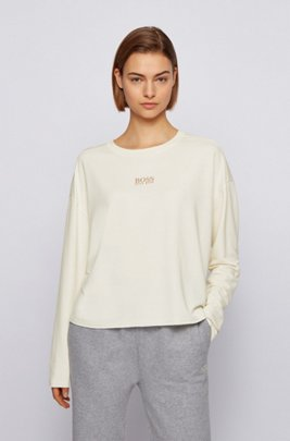Relaxed-fit sweatshirt in lightweight terry with logo detail, White
