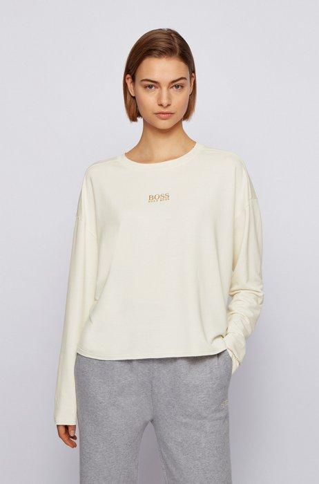 Relaxed-Fit Sweatshirt aus leichtem Terry mit Logo, Weiß