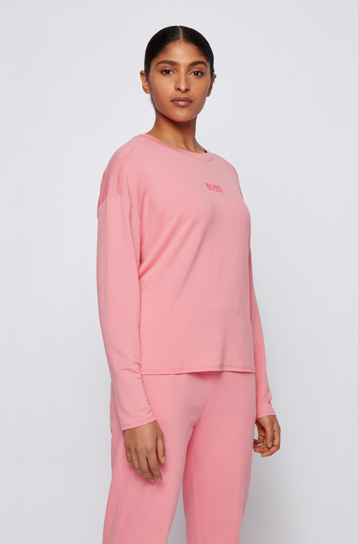 Relaxed-fit sweatshirt in lightweight terry with logo detail, light pink