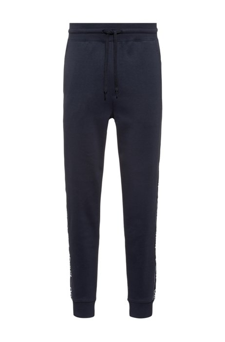 Cotton-blend tracksuit bottoms with side-seam logos, Dark Blue