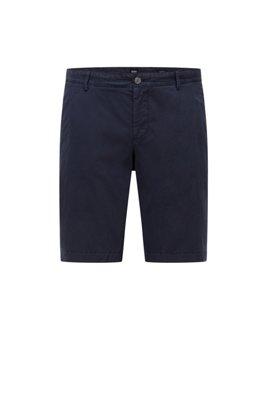 Garment-dyed shorts in stretch-cotton twill, Dark Blue