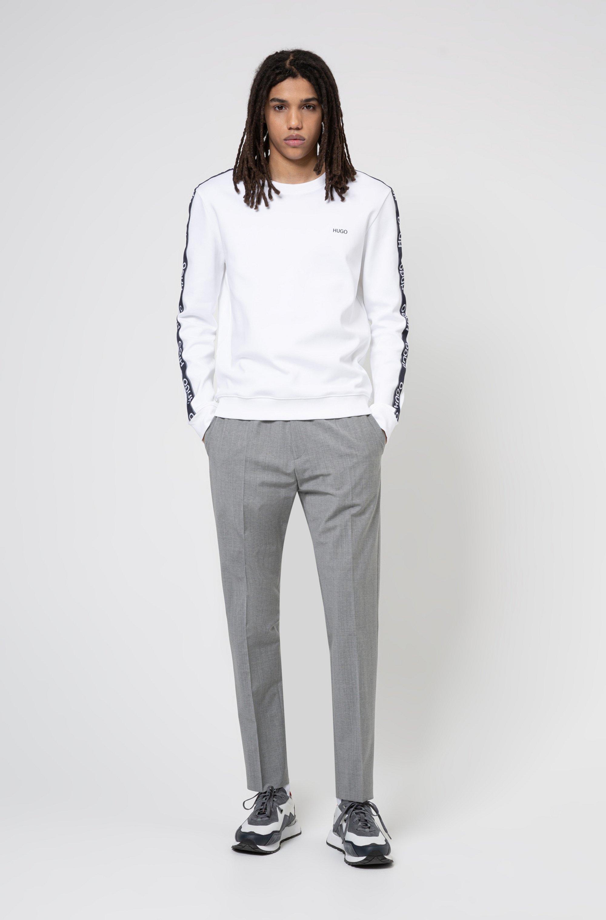 Cotton sweatshirt with logo-tape sleeves