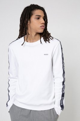 Cotton sweatshirt with logo-tape sleeves, White