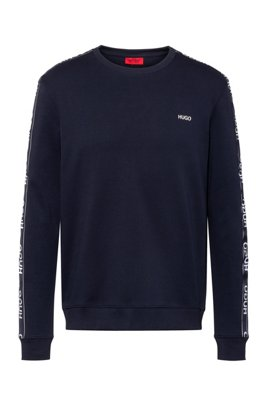 Cotton sweatshirt with logo-tape sleeves, Dark Blue