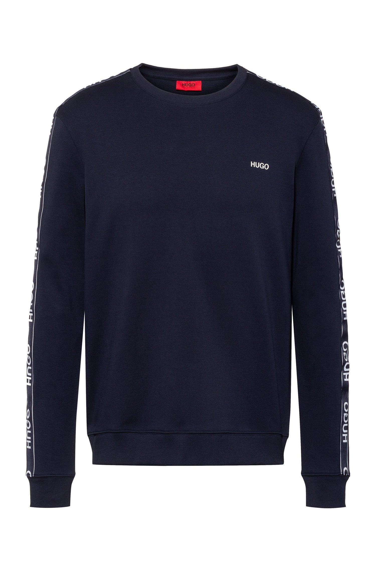 Cotton sweatshirt with logo-tape sleeves, Dark Blue