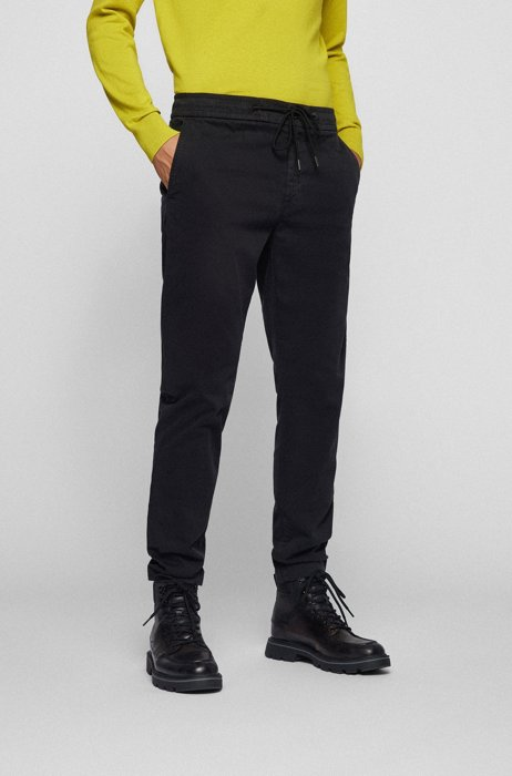 Tapered-fit pants in stretch-cotton satin, Black