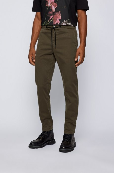 Tapered-fit pants in stretch-cotton satin, Dark Green