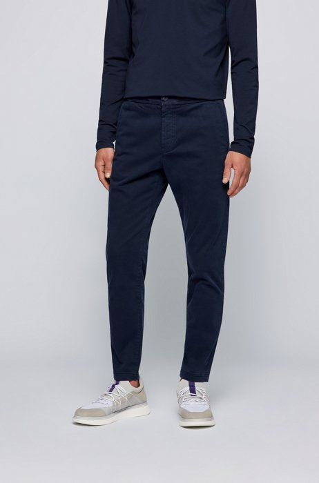 Tapered-fit pants in stretch-cotton satin, Dark Blue