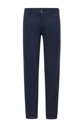 Regular-fit chinos in stretch-cotton satin, Dark Blue