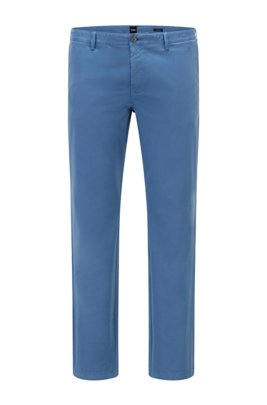 Regular-fit chinos in stretch-cotton satin, Blue