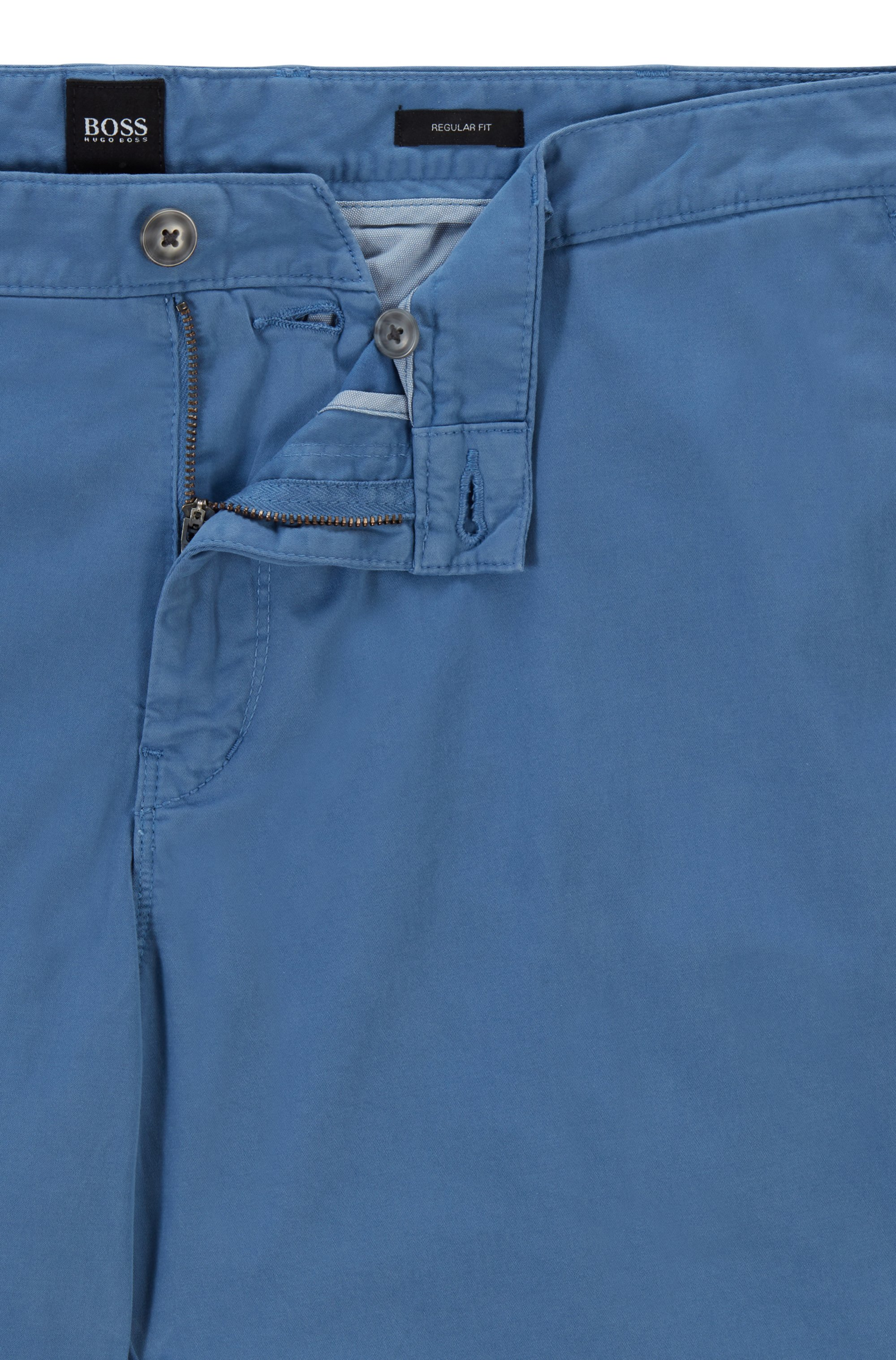 Regular-fit chinos in stretch-cotton satin