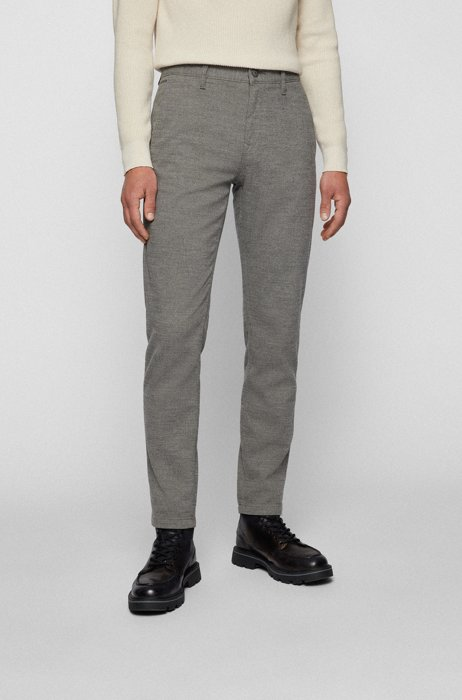 Tapered-fit trousers in a structured cotton blend, Silver
