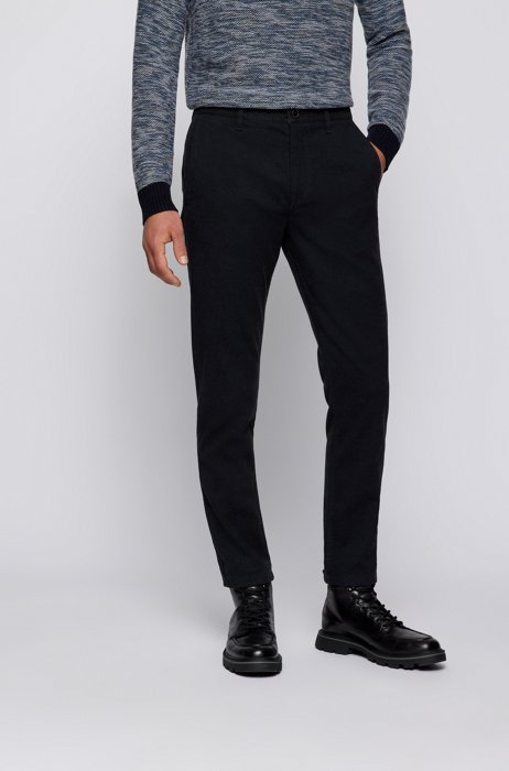 Tapered-fit trousers in a structured cotton blend, Dark Blue