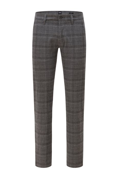 Pantalon Slim Fit en tissu à carreaux, Noir à motif