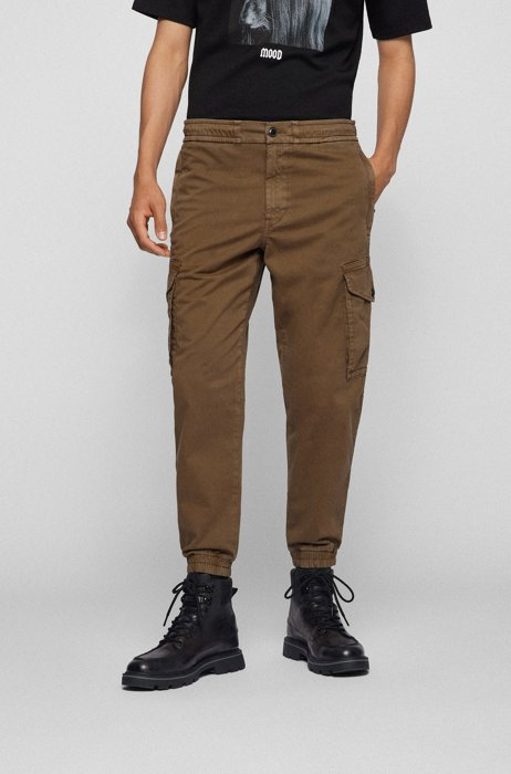 Relaxed-fit cargo trousers in stretch cotton, Dark Green
