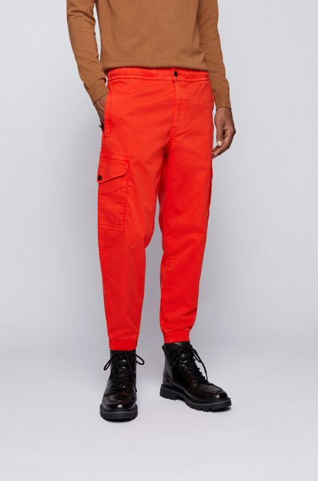 Relaxed-fit cargo trousers in stretch cotton, Orange