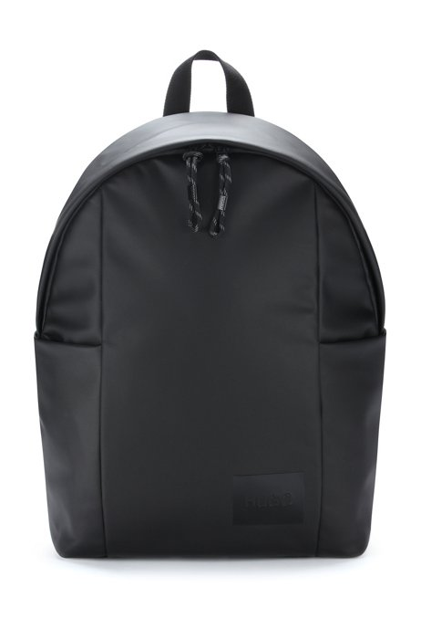 Logo backpack in coated structured material, Black