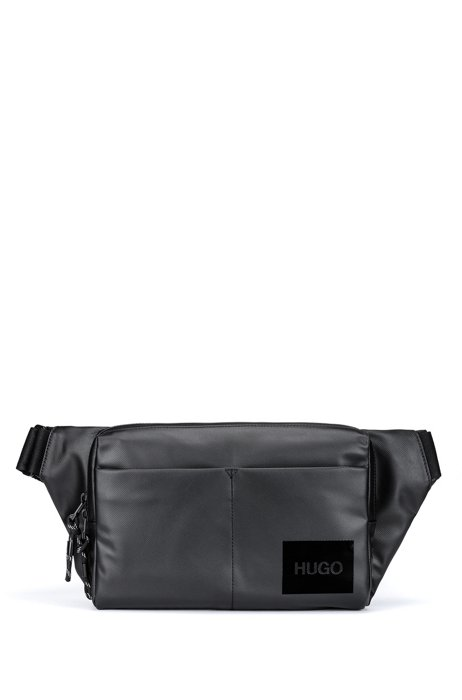 Coated-nylon belt bag with logo patch, Black
