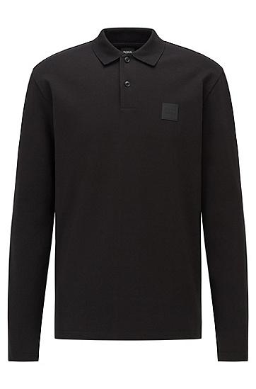 硅胶徽标饰片棉毛 Polo 衫,  001_Black